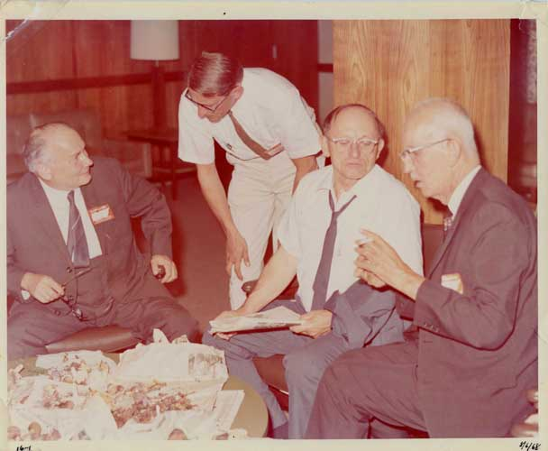 A quartet of eminent mycologists at the Knoxville 1968 MSA meeting. From left to right, Albert Pilát, talking to Ernst Both; and Alexander Smith talking to Walter Snell. Photo courtesy of Dr. Wayne Gall.